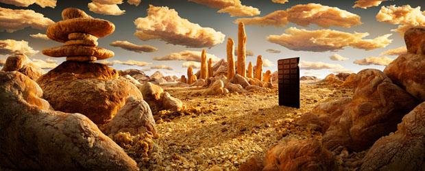 Uma barra de chocolate foi usada nessa paisagem (Foto: Reprodução/ Carl Warner)