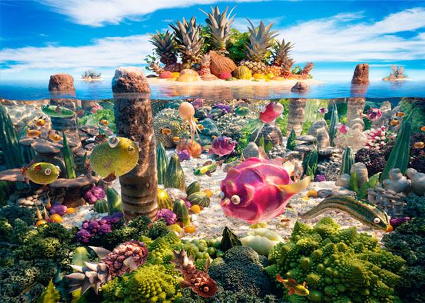 Cenário feito principalmente com frutas (Foto: Reprodução/ Carl Warner)