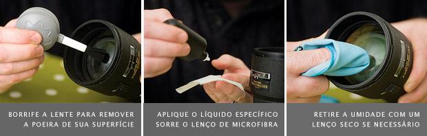 Imagem do borrifador de ar sobre a lente, à esquerda, líquido para limpeza, no meio, e flanela seca, à direita (Foto: Reprodução/Digital Camera World)