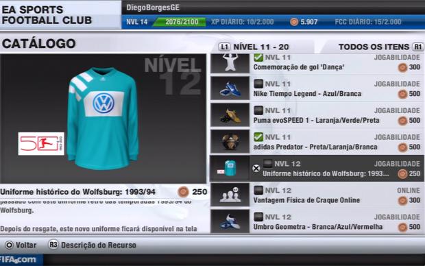 Aprenda a comprar camisas e novos itens em Fifa 13 (Foto: Reprodução / TechTudo)