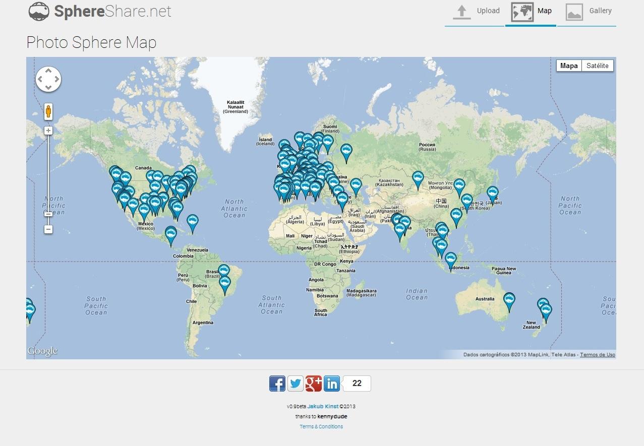 """Na opção """"Map"""" você pode visualizar as fotos diretamente de onde foram tiradas (Foto: Divulgação/ SphereShare)"""