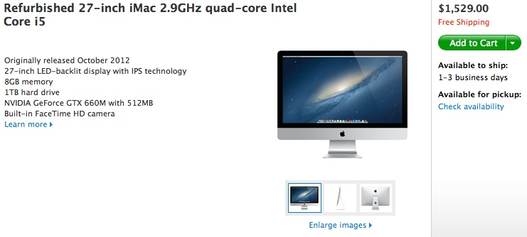 iMacs remodelados estão à venda no site da Apple (Foto: Reprodução/MacRumors)