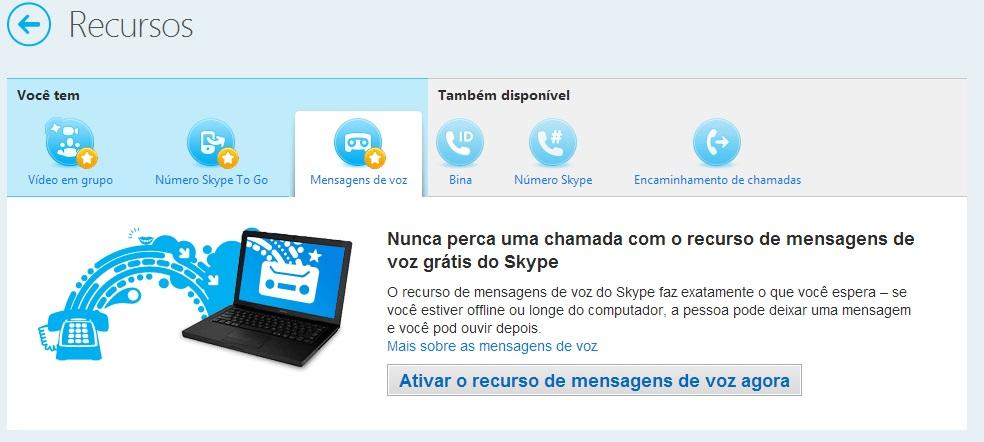Ativando as mensagens de voz do Skype
