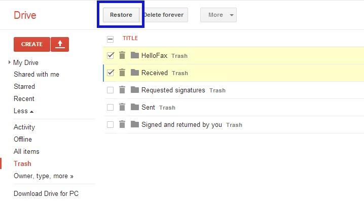 Restauração de arquivos excluídos no Google Drive (Foto: Reprodução/Marcela Vaz)