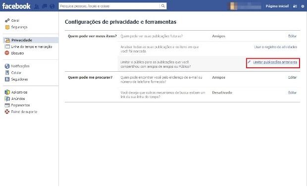 Configurações de Privacidade e Ferramentas do Facebook (Foto: Reprodução/Lívia Dâmaso)