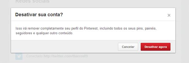 Segunda tela que o Pinterest exibe ao desativar uma conta (Foto: Reprodução/Thiago Barros)