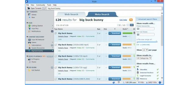 Vuze não só baixa torrents, como toca vídeos e oferece antivirus na versão paga (Foto: Reprodução)