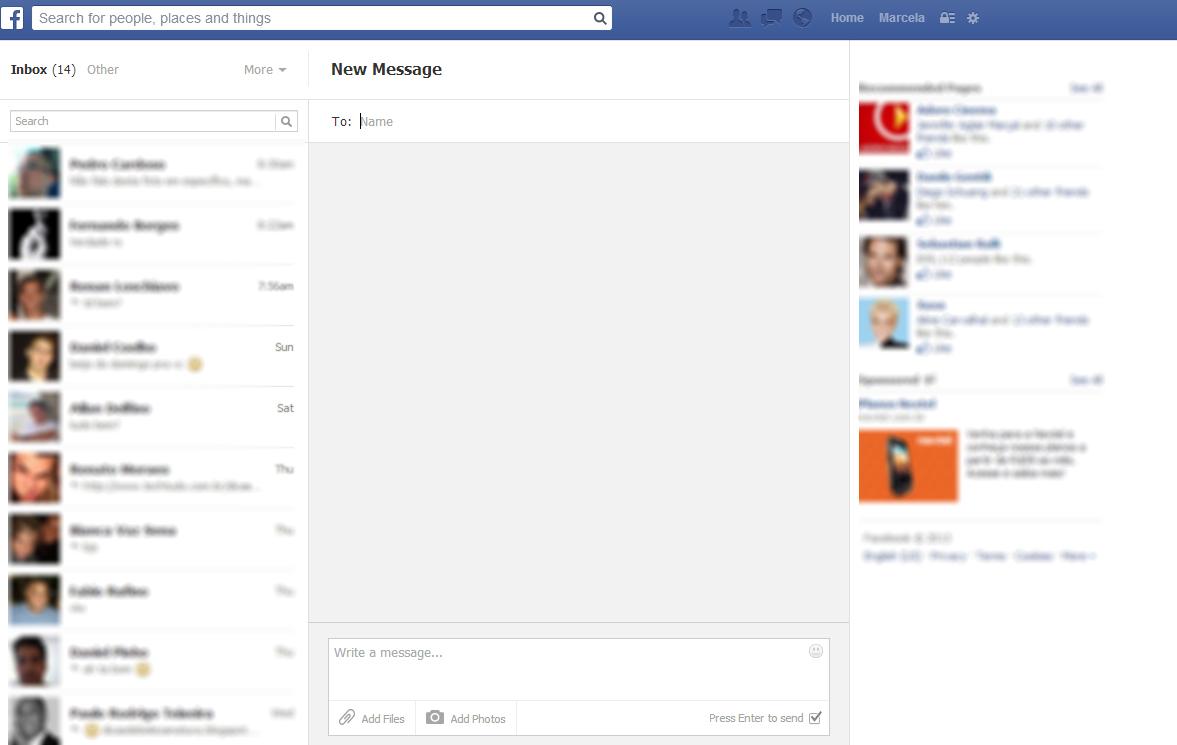 O serviço de e-mail do Facebook funciona pela caixa de mensagens da rede social (Foto: reprodução/Marcela Vaz)