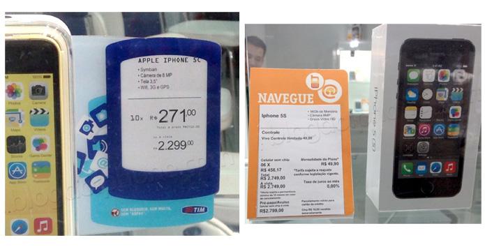 Lojas vendem iPhone 5S e 5C não homologados pela Anatel, mostra flagrante feito por leitores do blog (Foto: Reprodução/Blog do iPhone)