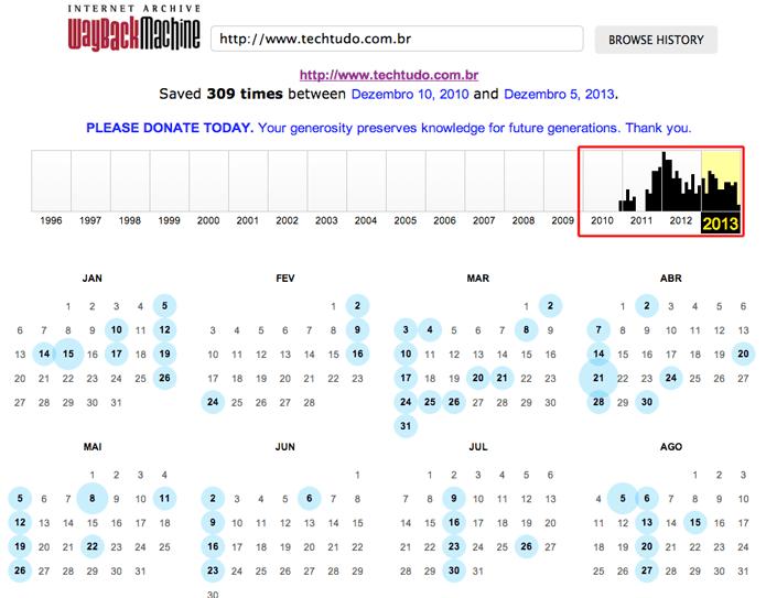 Clicando sobre um ano em que o site esteve em atividade no Internet Archive Wayback Machine (Foto: Reprodução/Marvin Costa)