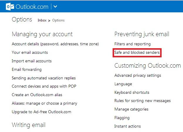 Lista de opções de e-mail do Outlook.com (Foto: Reprodução/ Marcela Vaz)
