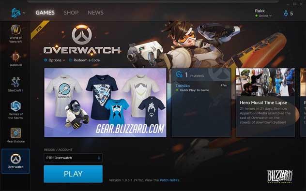 Clique em Jogar para abrir o PTR do Overwatch (Foto: Reprodução/Murilo Molina)
