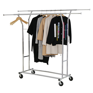 double rail clothes rack in chrome plated steel