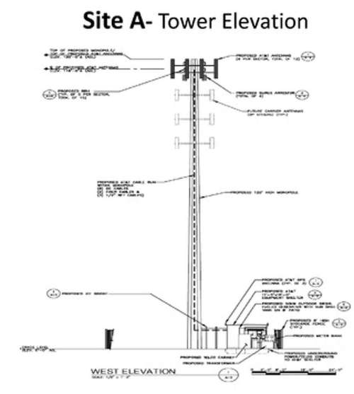 small resolution of a rendering of the at t monopole cell tower that could be proposed for site a