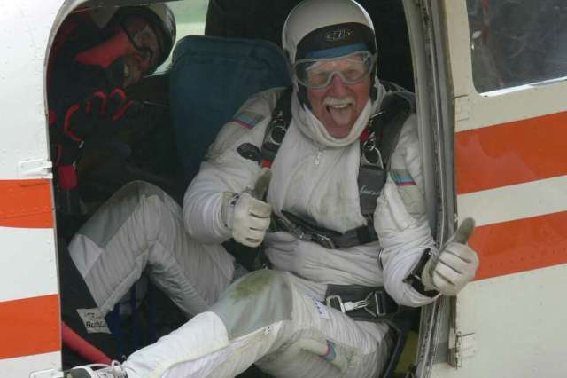Pat Moorehead prepares for his 80th skydive on his 80th birthday near Lake Elsinore in 2011 Photo: Tom Sanders / SFC