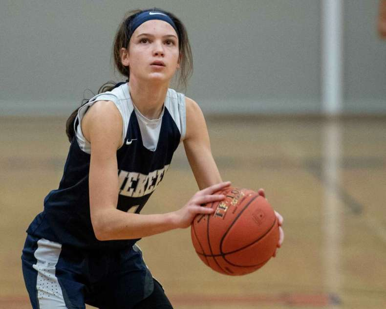 Avery Mills and her family made the hard decision to move, and now Mills plays basketball for national power Winston-Salem Christian. Mills says she misses her friends and coaches from Mekeel Christian, but feels she made the right decision. (Jim Franco/Special to the Times Union)