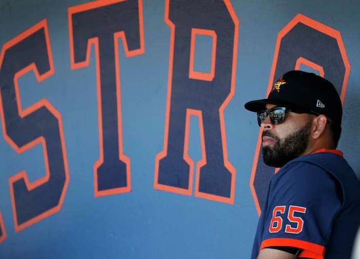 Houston Astros pitcher Jose Urquidy (65) in the dugout during a spring training game against the Washington Nationals at the Fitteam Ballpark of The Palm Beaches, in West Palm Beach, Sunday, Feb. 23, 2020.