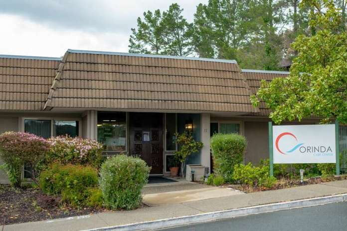 Facade of the Orinda Care Center nursing home in Orinda, California, the site of a major COVID-19 coronavirus outbreak, April 6, 2020. Photo: Smith Collection / Gado / Gado Via Getty Images