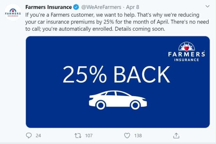 In the midst of the spread of COVID-19 and stay at home orders, many drive less while working from home. Auto insurers are mobilizing to relieve their customers during a pandemic. Photo: Twitter screenshot