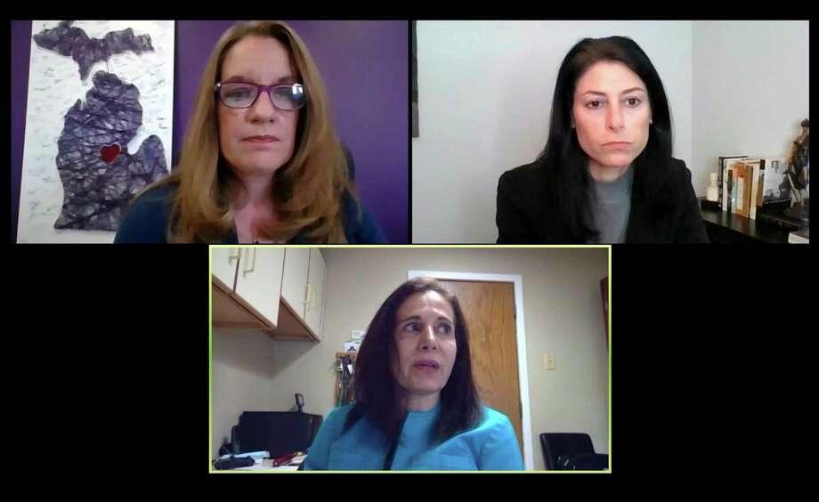 From top left, Sarah Schulz, Dana Nessel and Anita Fox meet for a flood insurance town hall Friday, June 12. (Screen shot/Victoria Ritter)