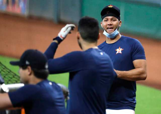 Houston Astros first baseman Yuli Gurriel during the Astros summer camp at Minute Maid Park, Wednesday, July 15, 2020, in Houston.