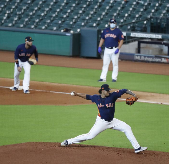 Houston Astros pitcher Bryan Abreu pitches during an intrasquad game at the Astros summer camp at Minute Maid Park, Friday, July 17, 2020, in Houston.