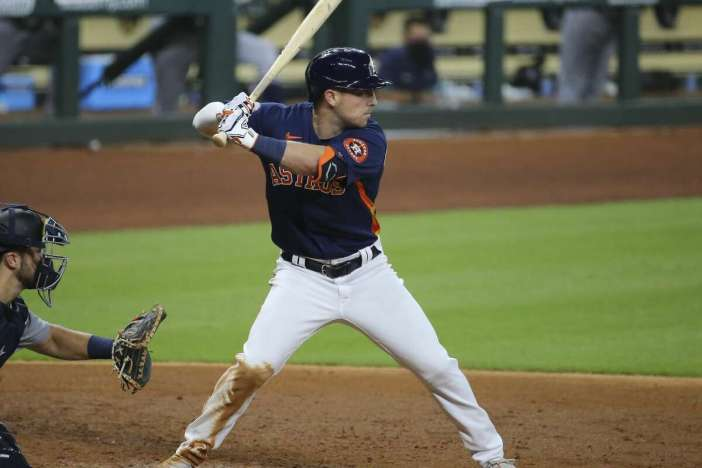 Houston Astros third baseman Alex Bregman (2) is at-bat during the bottom fourth inning of a MLB game against the Seattle Mariners Sunday, July 26, 2020, at Minute Maid Park in Houston.