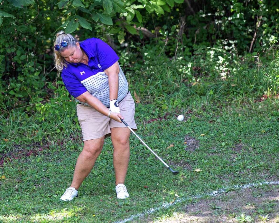 Colleen Cashman-McSween, the golf coach from UAlbany, plays an approach shot during the CDPHP Pro-Am with Symetra Tour players at Capital Hills Golf Course in Albany, NY on Friday, August 28, 2020 (Jim Franco / special to the Times Union.)