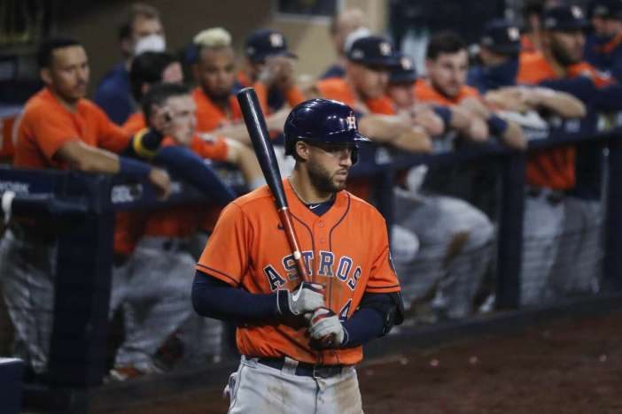 Houston Astros George Springer stands on deck before batting during Game 7 of the American League Championship Series against the Tampa Bay Rays at Petco Park Saturday, Oct. 17, 2020, in San Diego.