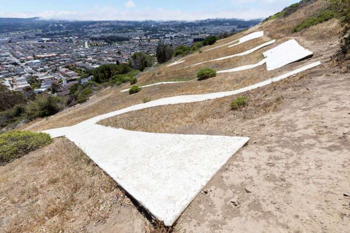 Hikers can walk a 1.2 mile loop trail to the South San Francisco Sign on Sign Hill in South San Francisco, Calif.. Photographed on June 12, 2021.