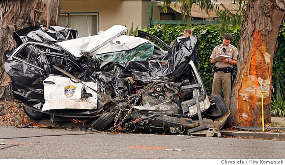 BURLINGAME  Police car SamTrans bus crash on El Camino