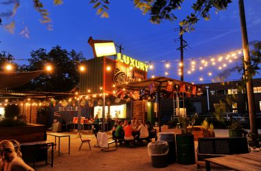 luxury antonio san outdoor container shipping dining bar containers seating food pop outdoors shops downtown restaurants patio distinctive cargo box