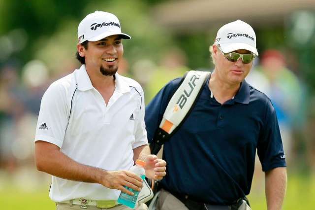 JOHNS CREEK, GA - AUGUST 09: (L-R) Jason Day of Australia walks with caddie Colin Swatton during a practice round prior to the start of the 93rd PGA Championship at the Atlanta Athletic Club on August 9, 2011 in Johns Creek, Georgia. (Photo by Kevin C. Cox/Getty Images)