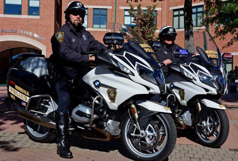 medium resolution of norwalk police retire harleys for lighter cooler bmw bikes