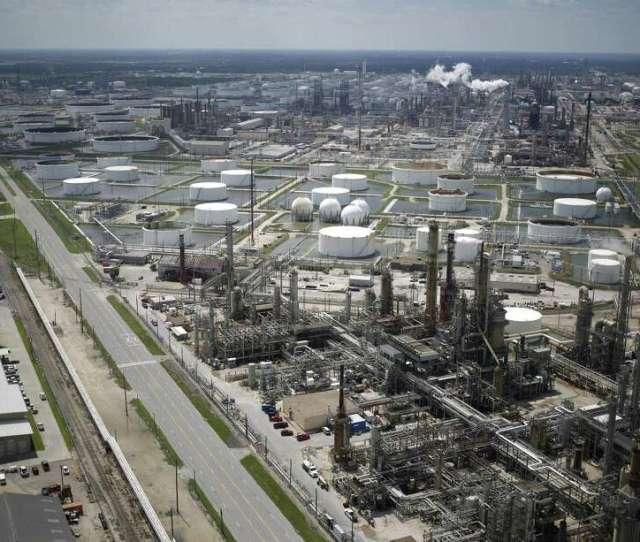 A Marathon Petroleum Corp Oil Refinery Stands In This Aerial Photograph Taken Above Texas City