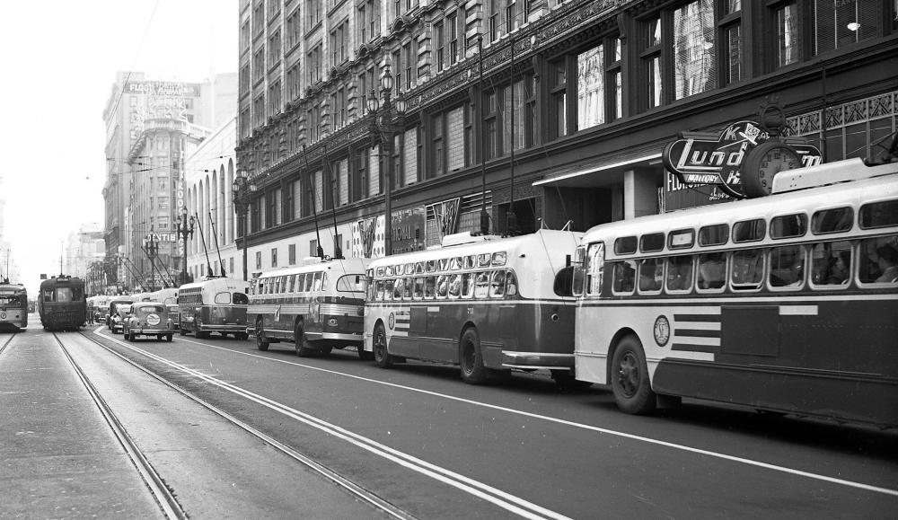 medium resolution of as wires crossed in 1949 muni championed electric bus future