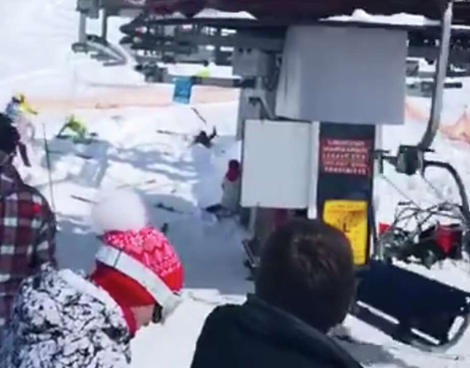ski chair lift malfunction for shower the elderly video shows skiers thrown out of chairs in terrifying chairlift a screenshot taken from showing at georgian resort suddenly rolling