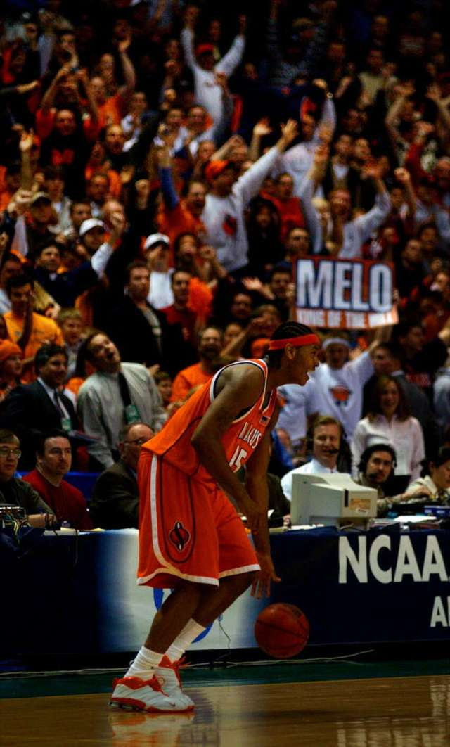 Syracuse University forward Carmelo Anthony dribbles out the clock during the final seconds of his team's 63-47 victory over Oklahoma in the NCAA East Regional at the Pepsi Arena in Albany on March 30, 2003.