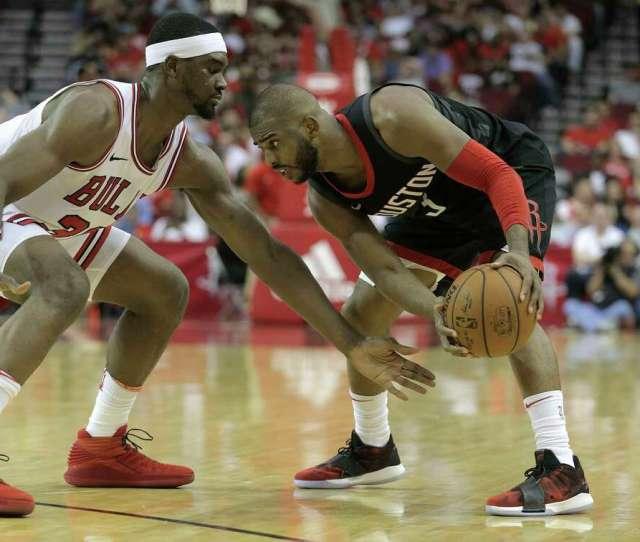 Houston Rockets Guard Chris Paul  Sizes Up Chicago Bulls Forward Noah Vonleh