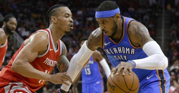 Oklahoma City Thunder forward Carmelo Anthony (7) looks to drive around Houston Rockets guard Gerald Green (14) during the first half of an NBA basketball game Saturday, April 7, 2018, in Houston. (AP Photo/Michael Wyke) Photo: Michael Wyke/Associated Press