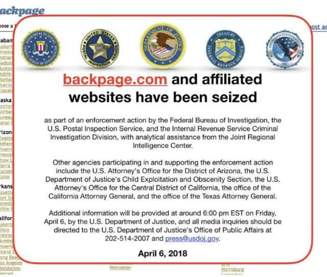 The Backpage Com Website In A Screenshot From April  Now Shows An