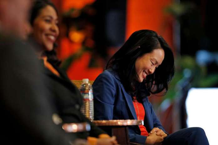 San Francisco Supervisor Jane Kim smiles during a mayoral candidates forum April 9. Photo: Carlos Avila Gonzalez / The Chronicle