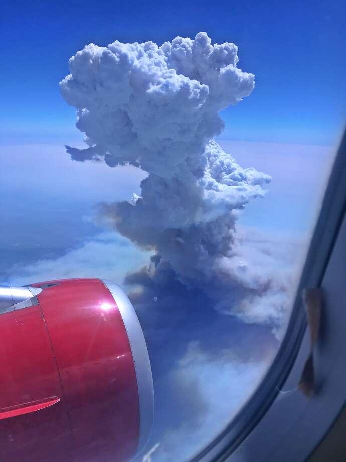 massive fire cloud rising