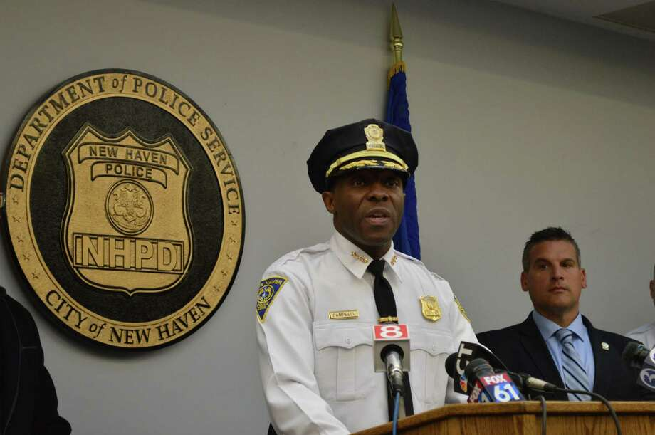 Police Chief Anthony Campbell addresses the media in a press conference at the New Haven Police Department Jan. 11, 2019. Photo: Clare Dignan / Hearst Connecticut Media