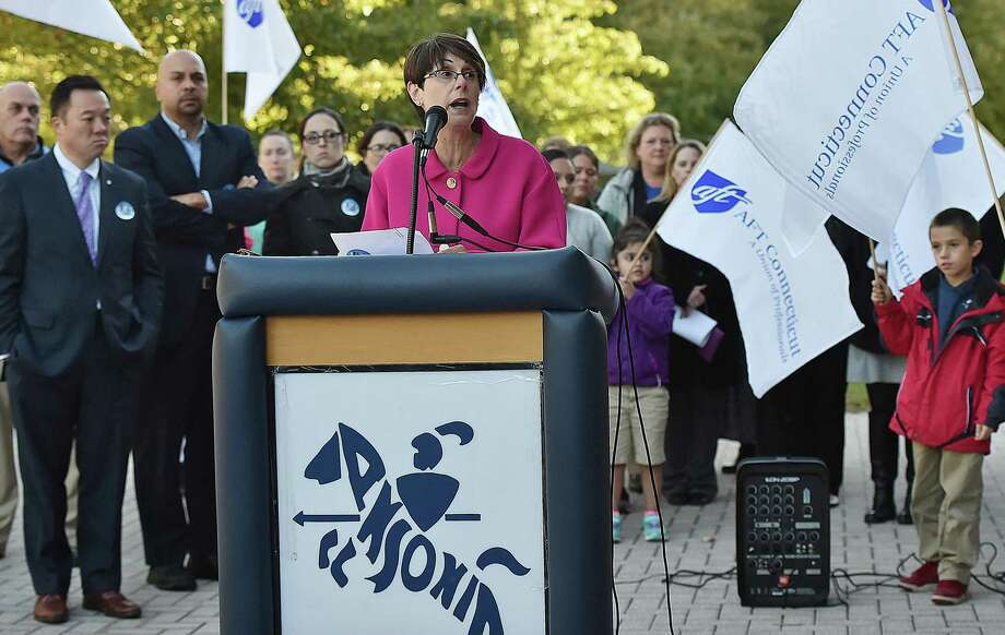 Last October, Ansonia Superintendent of Schools Carol Merlone spoke at a rally to draw attention to a legal dispute between the school district and City Hall. Photo: File Photo / New Haven Register
