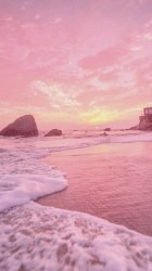 Sunset With Pastel Pink Yellow Vibes 90s Retro Iphone 7 Pink Beach #2188023 HD Wallpaper & Backgrounds Download