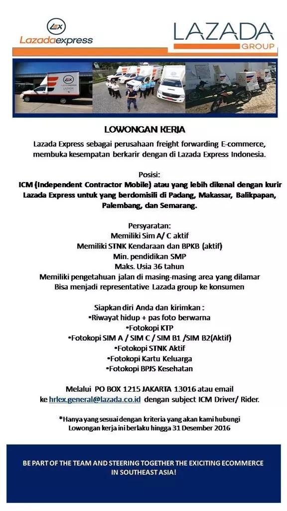 Lowongan Kerja Kurir Lazada : lowongan, kerja, kurir, lazada, LOWONGAN, KURIR, INDONESIA, KASKUS