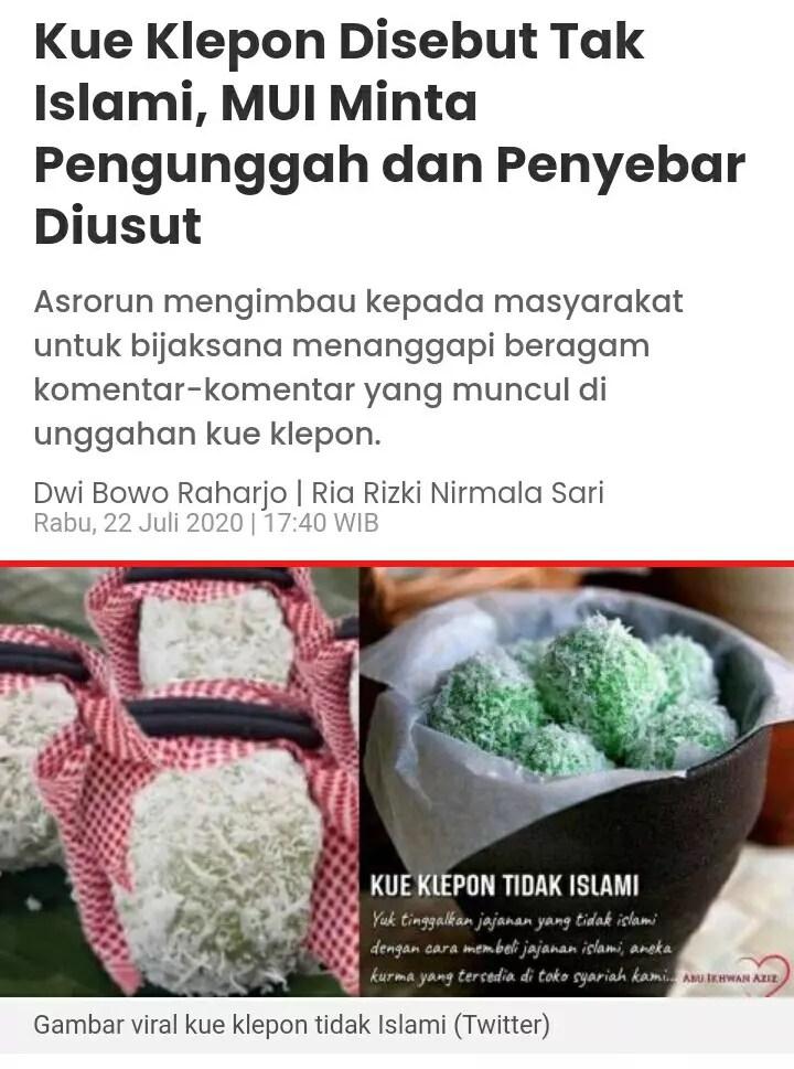 Viral Klepon Bukan Makanan Islami : viral, klepon, bukan, makanan, islami, Klepon, Disebut, Islami,, Minta, Pengunggah, Penyebar, Diusut, KASKUS