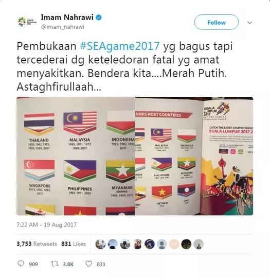 Bendera Indonesia Terbalik di Buku SEA Games