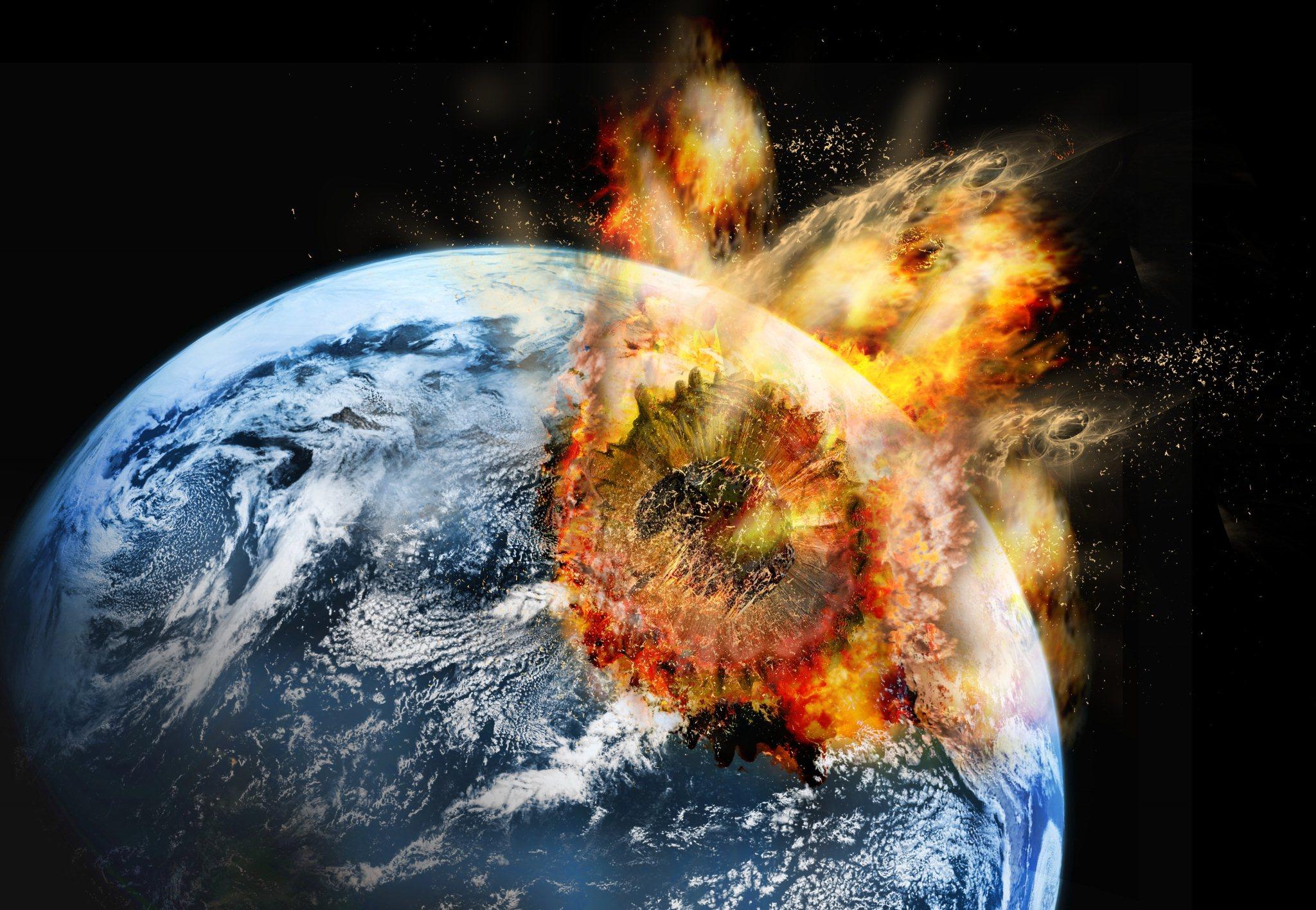 Resultado de imagen de meteorito chocando con la tierra